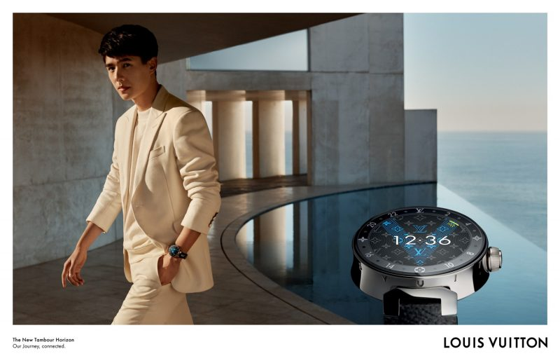 Liu Haoran appears in Louis Vuitton's Tambour Horizon campaign.