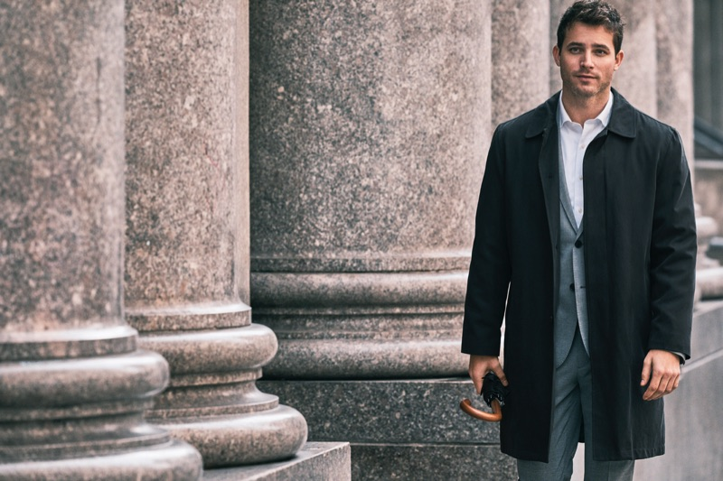 A sleek vision, Anthony David stars in London Fog's spring-summer 2019 campaign.