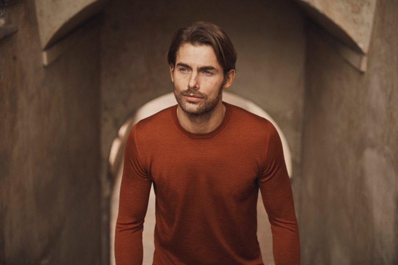 Sporting a fine-silk cashmere crewneck, Jacey Elthalion stars in Luca Faloni's spring-summer 2019 lookbook.