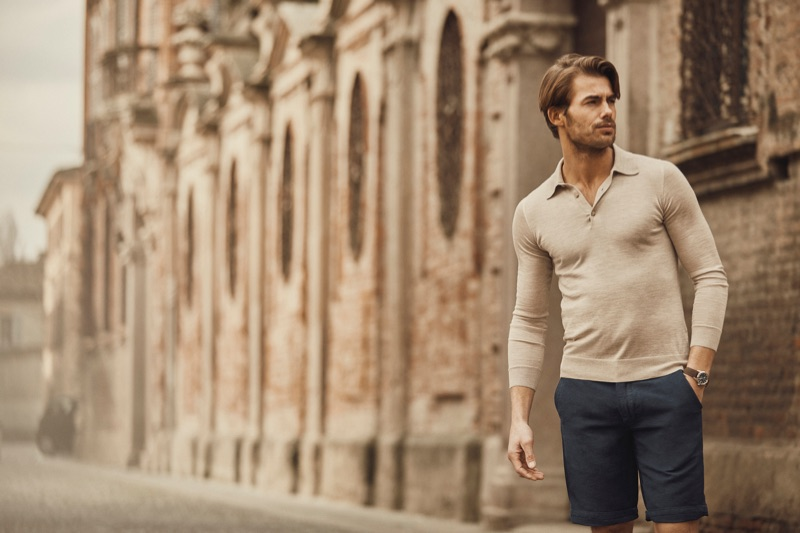 Stepping out, Jacey Elthalion sports a Luca Faloni long-sleeve polo shirt.