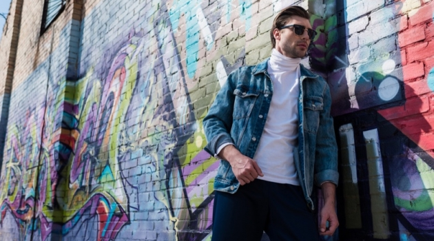 Male Model in Denim Jacket with Graffiti Background