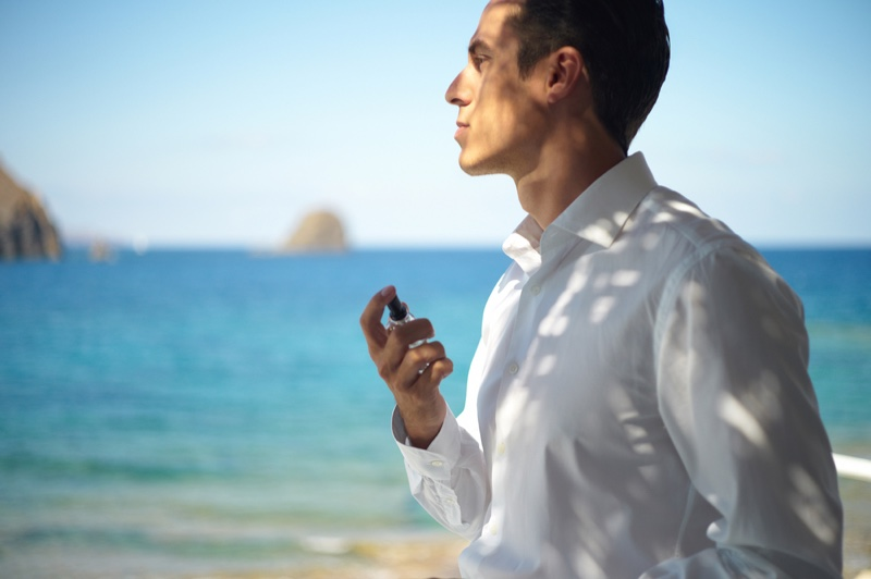 Man with Cologne Fragrance at Beach