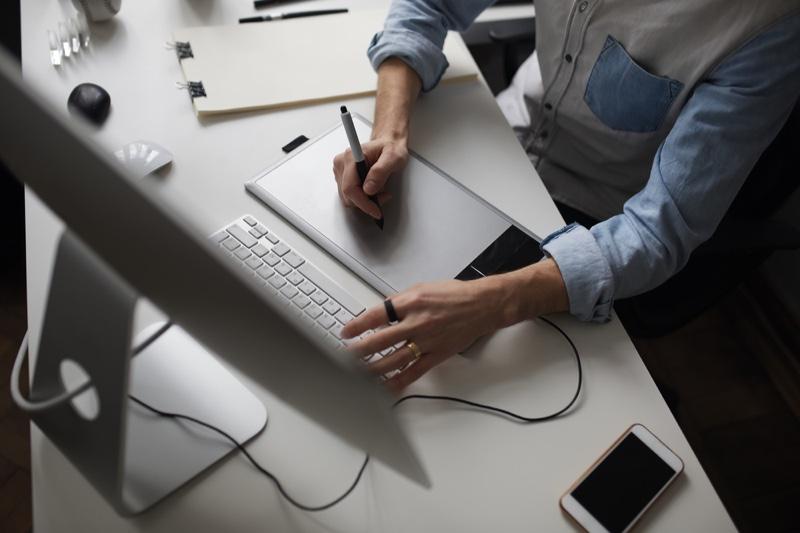Man Working Computer Tablet
