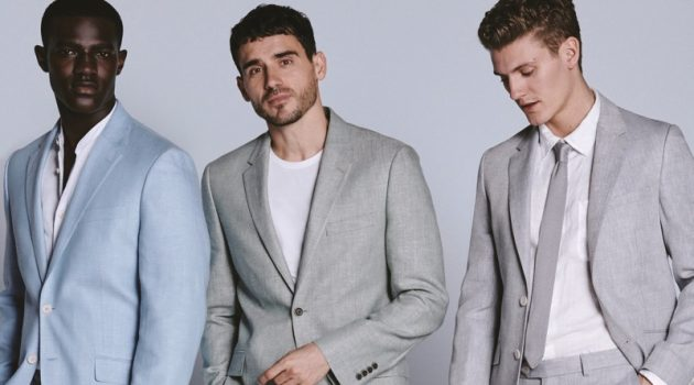 Kesse Donkor, Arthur Kulkov, and Mikkel Jensen don sharp suits for Marks & Spencer's spring-summer 2019 campaign.