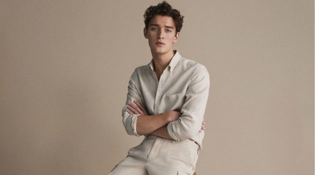 Embracing neutrals, Otto Lotz wears linen menswear by Massimo Dutti.
