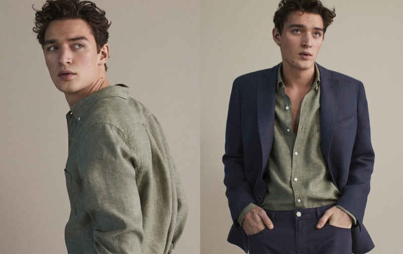 Taking to the studio, Otto Lotz wears linen tailoring for Massimo Dutti.