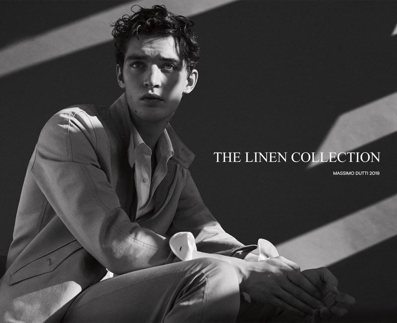 Model Otto Lotz wears linen fashions for Massimo Dutti.