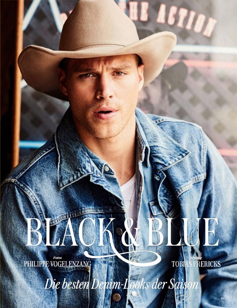Black & Blue: Matthew Noszka Goes Western in Denim for GQ Germany