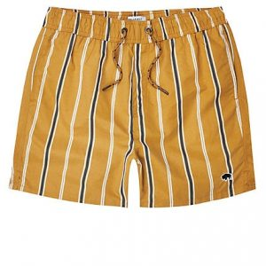 Mens Bellfield brown stripe swim trunks