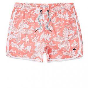 Mens Bellfield pink Hawaii swim trunks