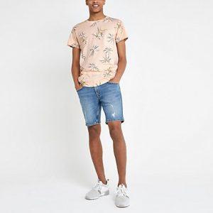 Mens Bellfield pink floral curved hem T-shirt