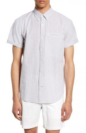 Men's Club Monaco Besom Pocket Slim Fit Seersucker Sport Shirt, Size X-Small - White