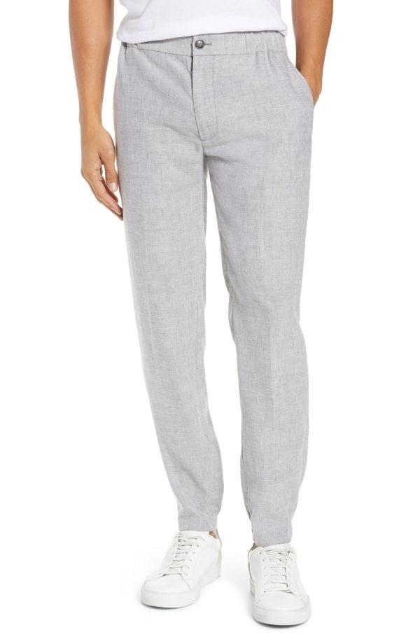 Men's Club Monaco Lex Slim Fit Linen Blend Pants, Size X-Large - Grey