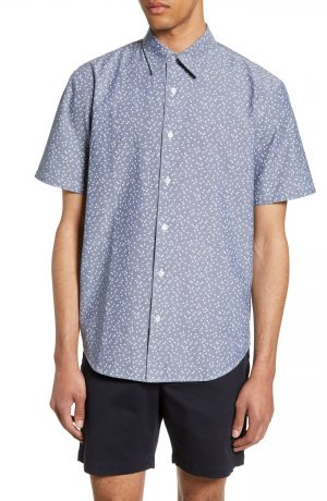 Men's Club Monaco Slim Fit Agave Print Sport Shirt, Size X-Small - Blue