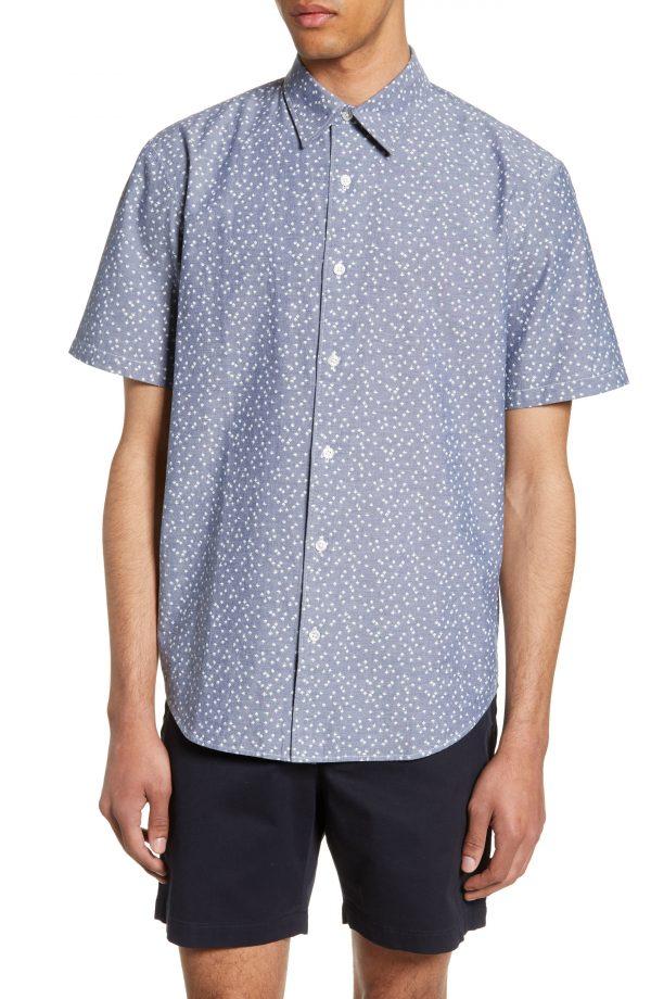 Men's Club Monaco Slim Fit Agave Print Sport Shirt, Size X-Small - Blue