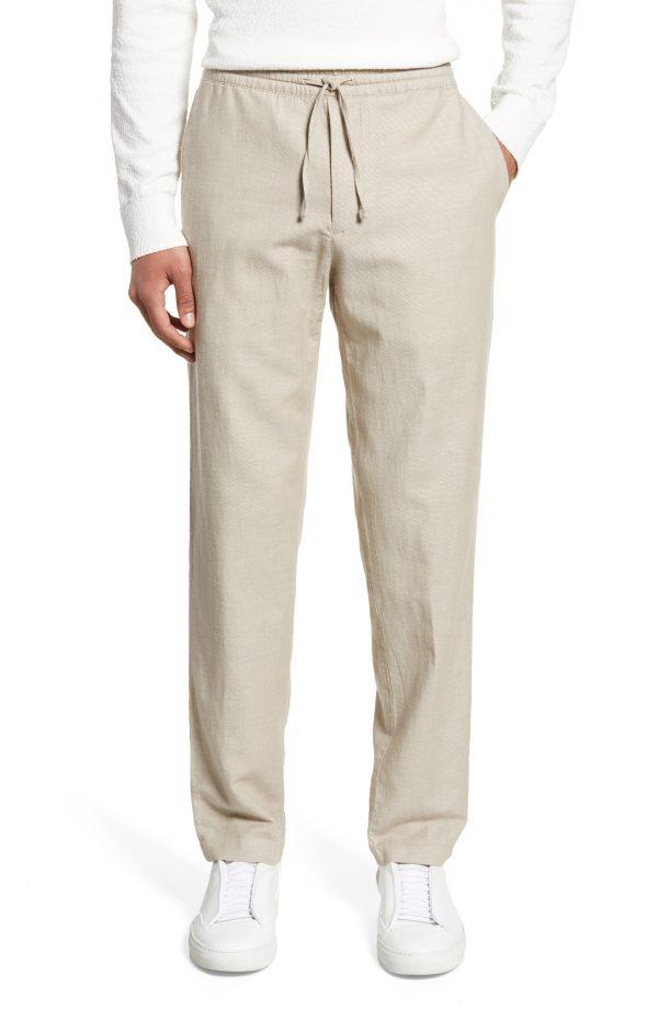 Men's Club Monaco Slim Fit Beach Pants, Size X-Small - Beige