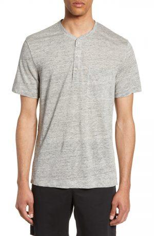 Men's Club Monaco Slim Fit Linen Henley, Size X-Small - Grey