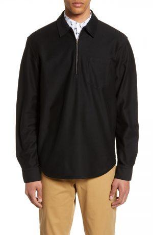 Men's Club Monaco Slim Fit Quarter Zip Pullover, Size X-Small - Black