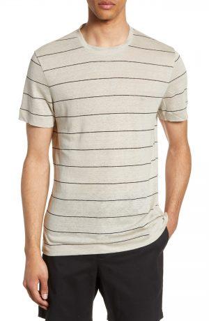 Men's Club Monaco Slim Fit Stripe Linen Crewneck T-Shirt, Size X-Small - Black