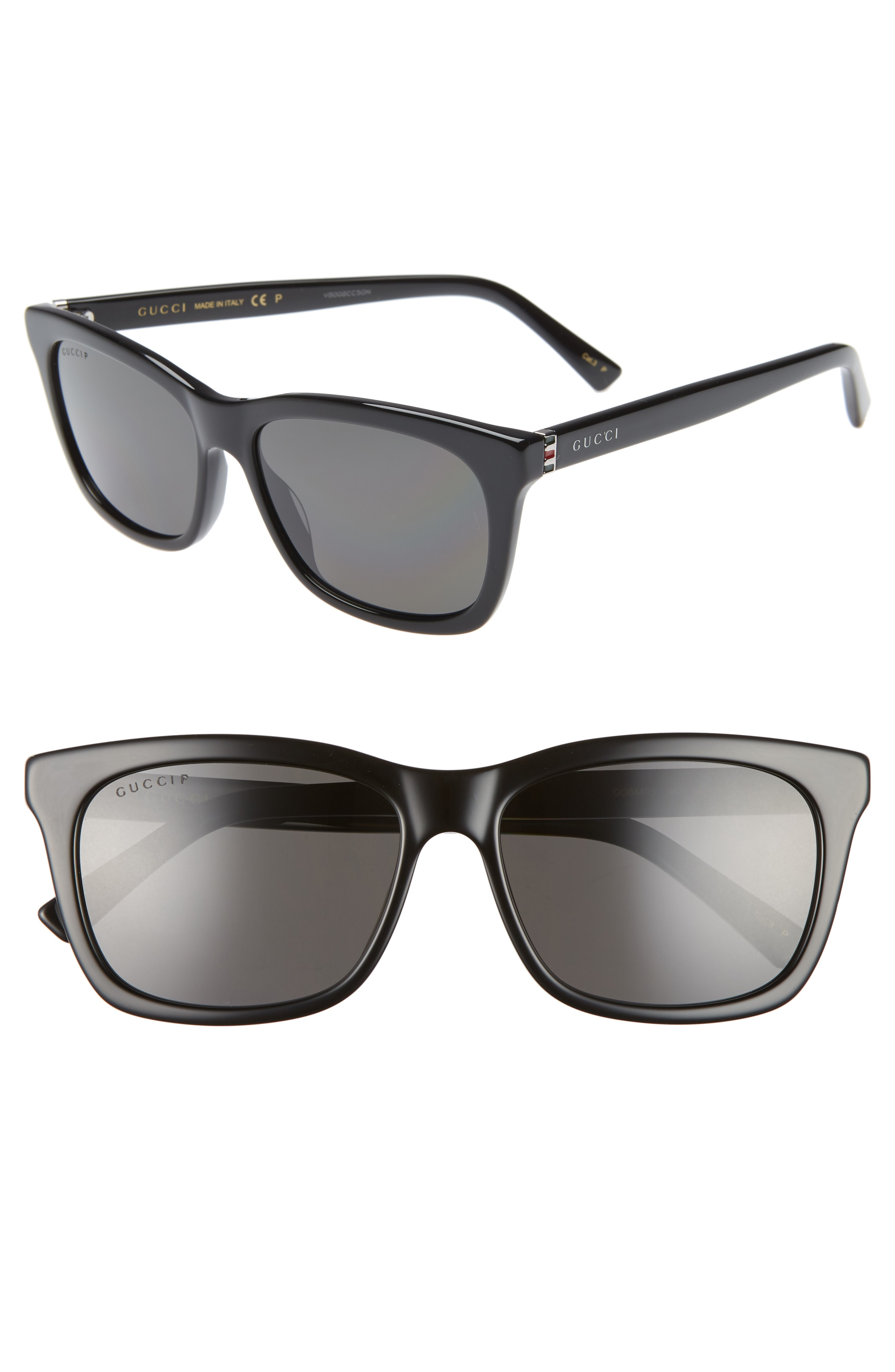 0e9522c119b1 Men's Gucci 56Mm Polarized Square Sunglasses – Black/ Grey | The ...