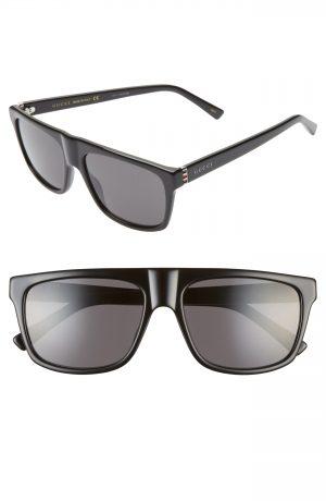 Men's Gucci 57Mm Rectangular Sunglasses - Black/ Grey