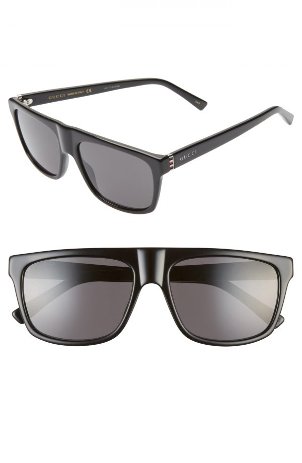 Men's Gucci 57Mm Rectangular Sunglasses - Black/ Grey