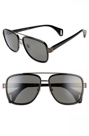 Men's Gucci 58Mm Aviator Sunglasses - Black/ Grey