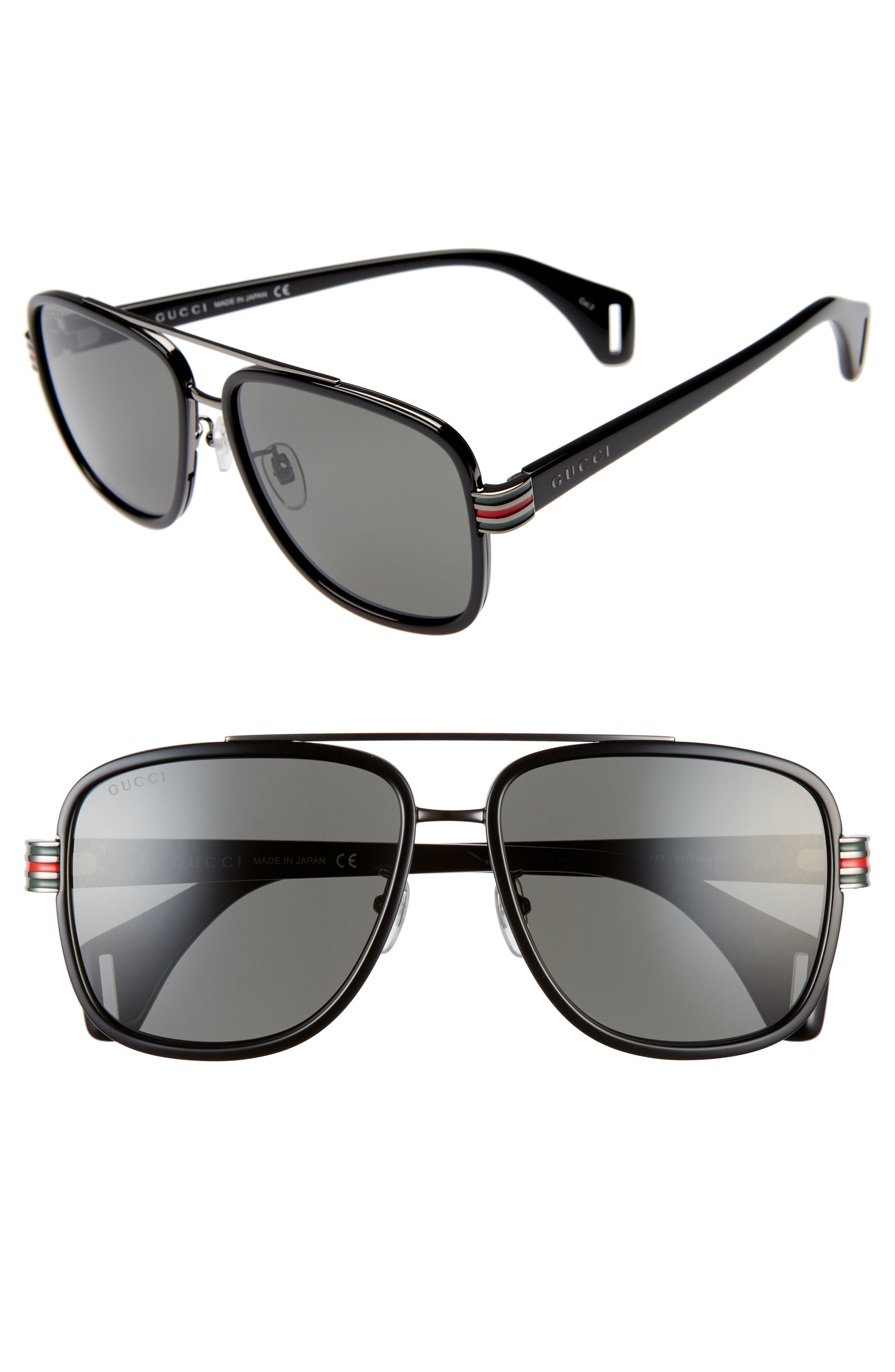 b760817ba6bf Men's Gucci 58Mm Aviator Sunglasses – Black/ Grey | The Fashionisto