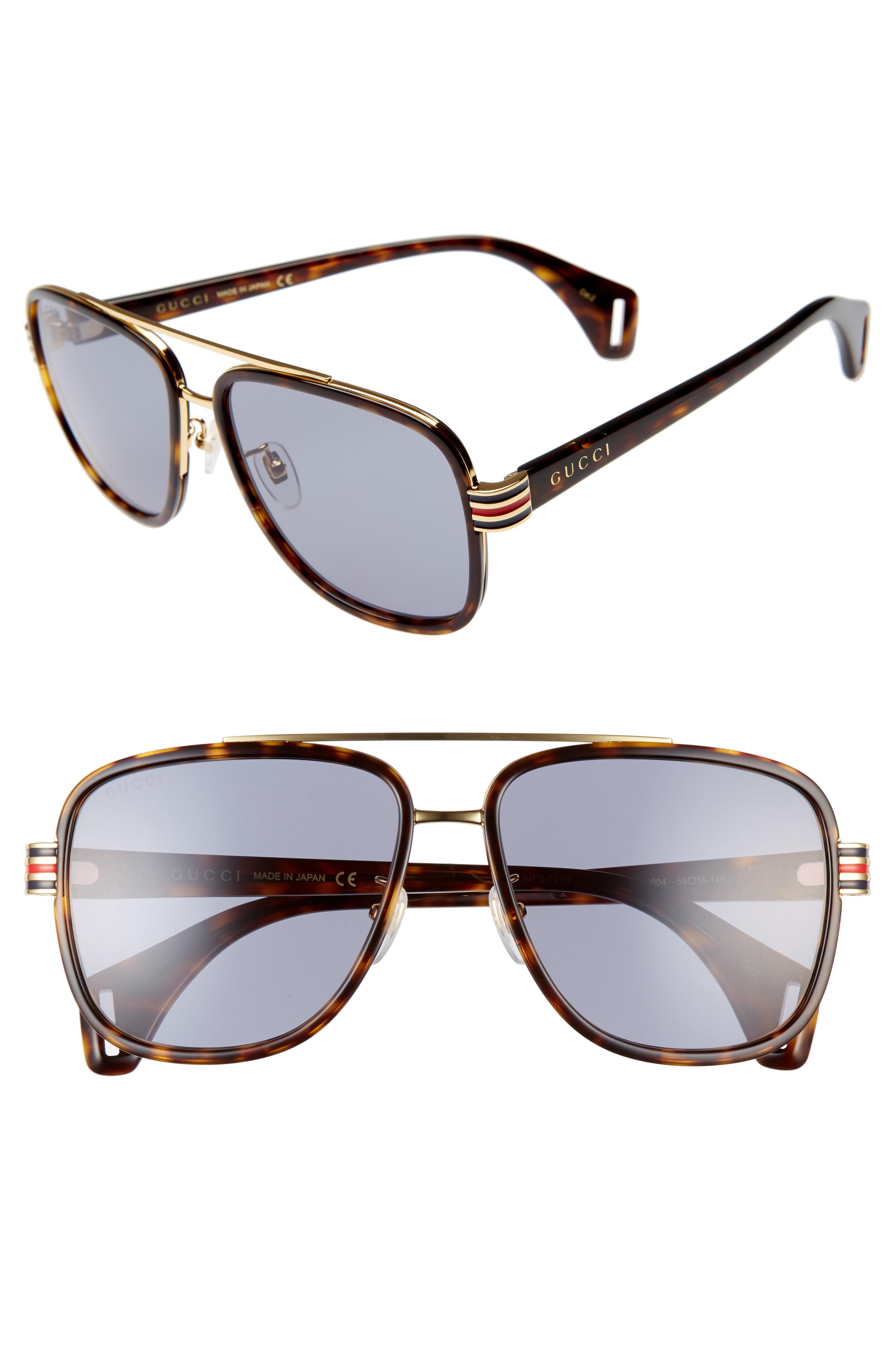 ecac9ebebb9 Men s Gucci 58Mm Aviator Sunglasses – Dark Havana  Grey