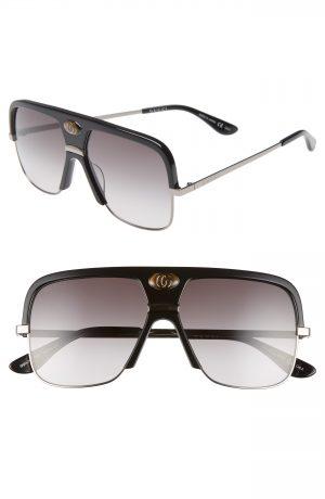 Men's Gucci 59Mm Navigator Sunglasses - Black/ Grey