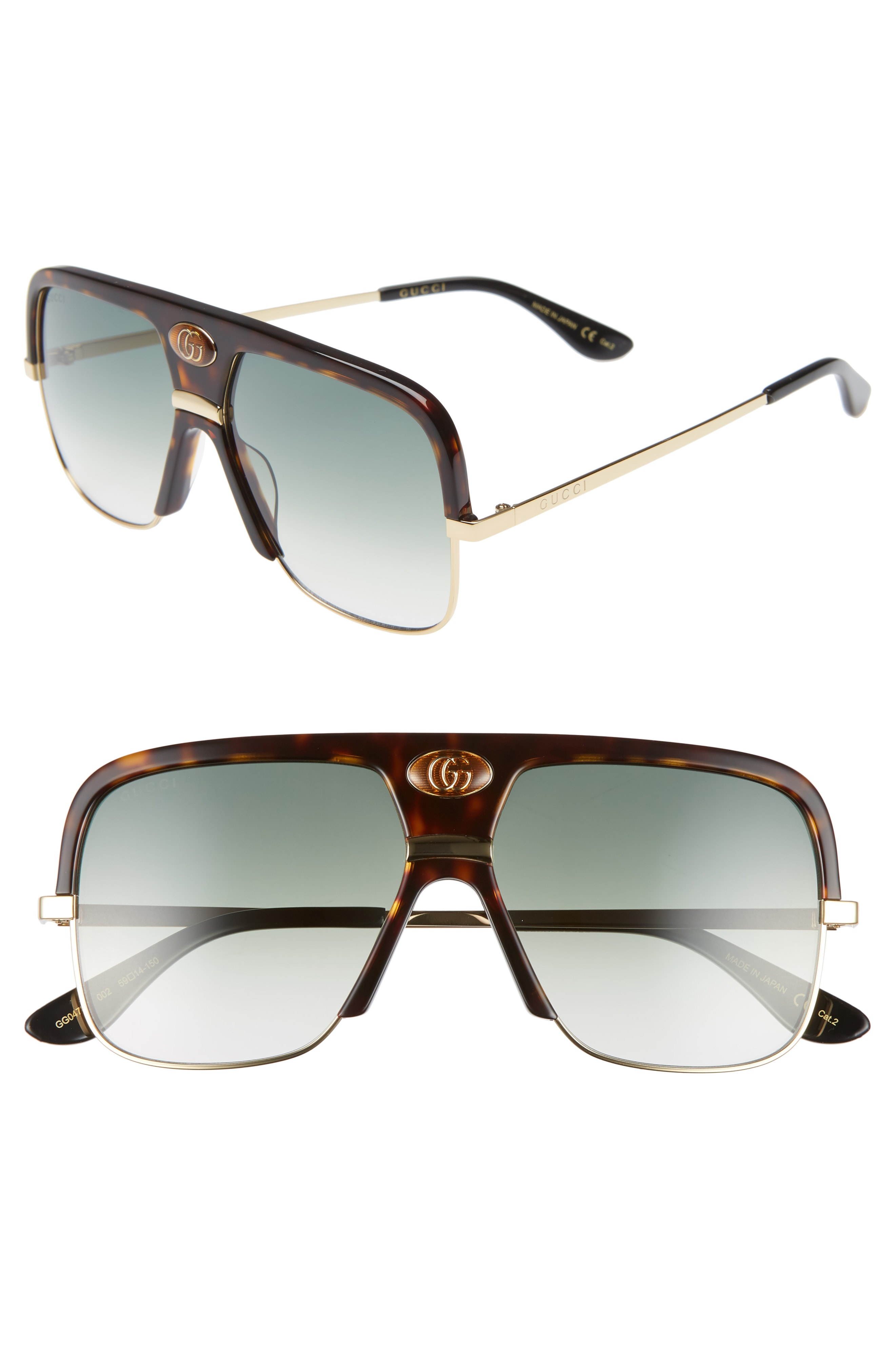 f3e812fc Men's Gucci 59Mm Navigator Sunglasses - Dark Havana/ Green