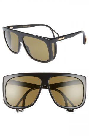 Men's Gucci 62Mm Navigator Sunglasses - Black/ Green