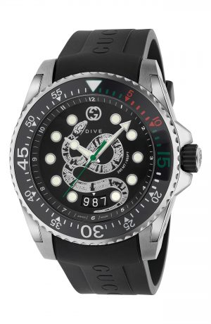 Men's Gucci Dive Snake Rubber Strap Watch, 45Mm
