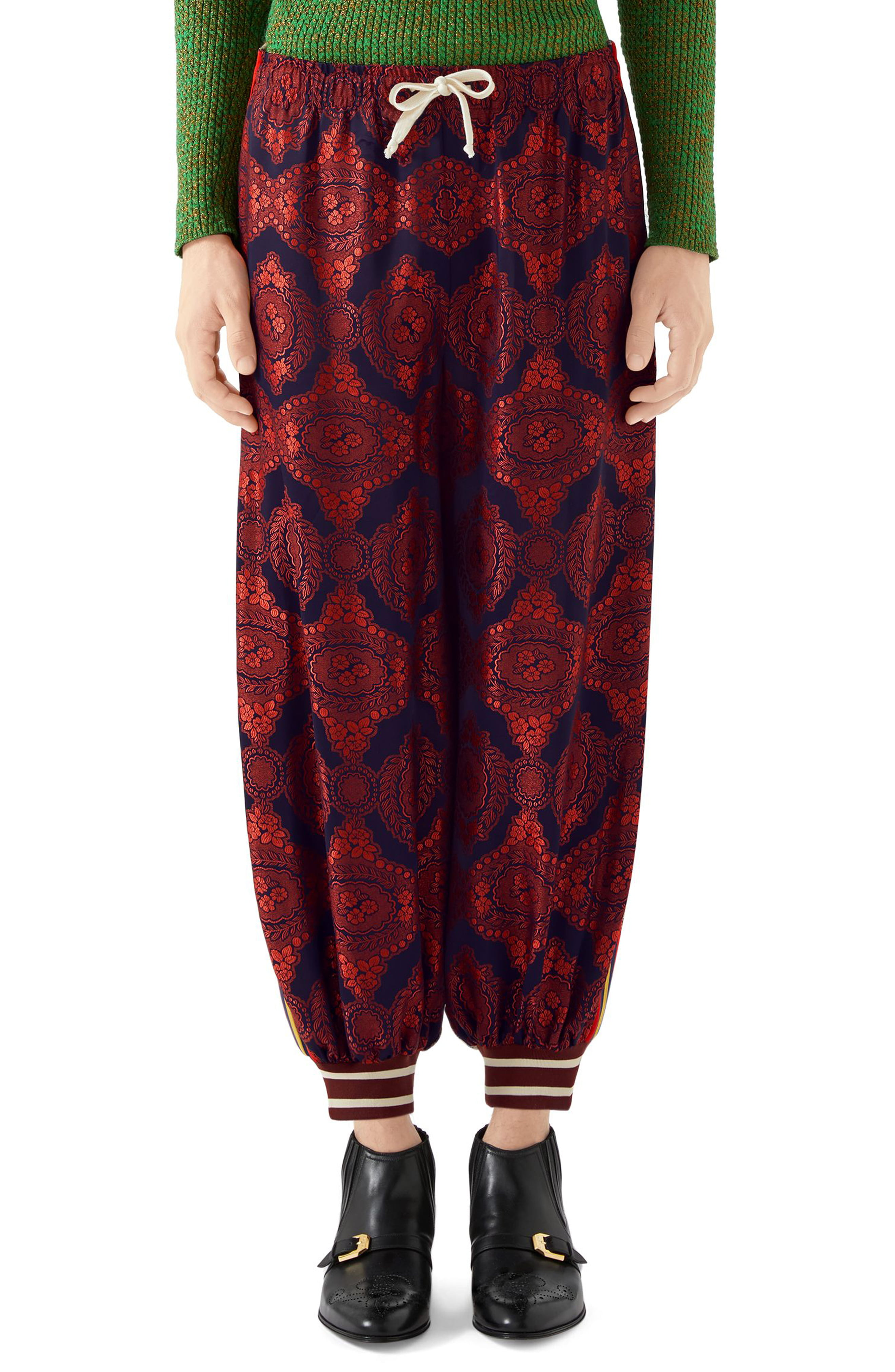 774a6d54 Men's Gucci Mixed Media Track Pants, Size X-Small – Burgundy | The ...