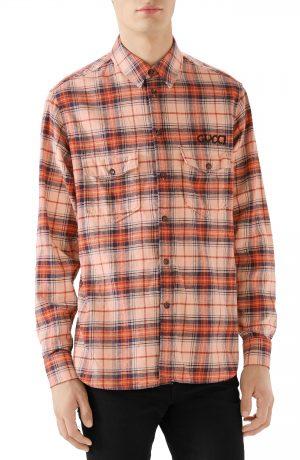 Men's Gucci Paramount Plaid Flannel Shirt, Size 52 EU - None