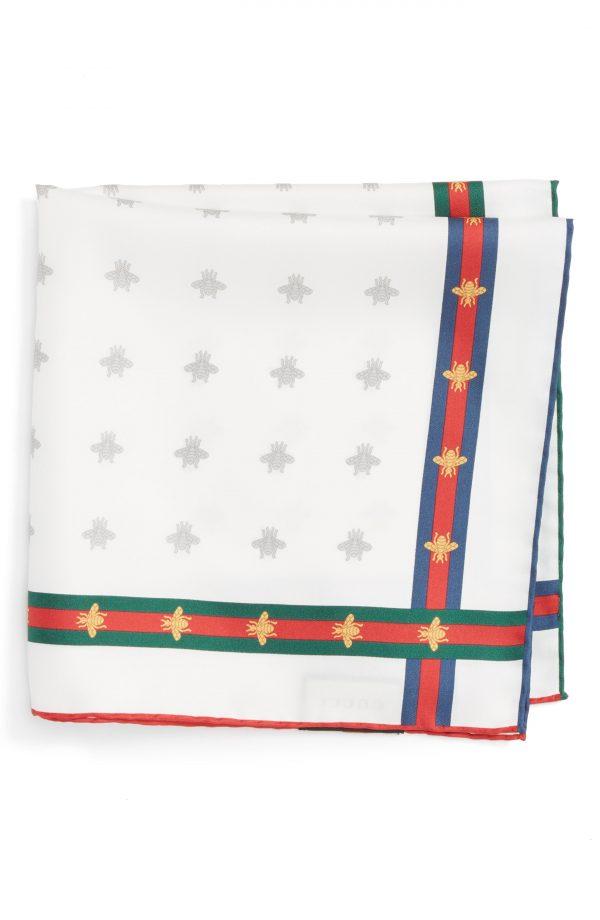 Men's Gucci Runebis Silk Twill Pocket Square