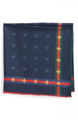 Men's Gucci Runebis Silk Twill Pocket Square, Size One Size - Blue