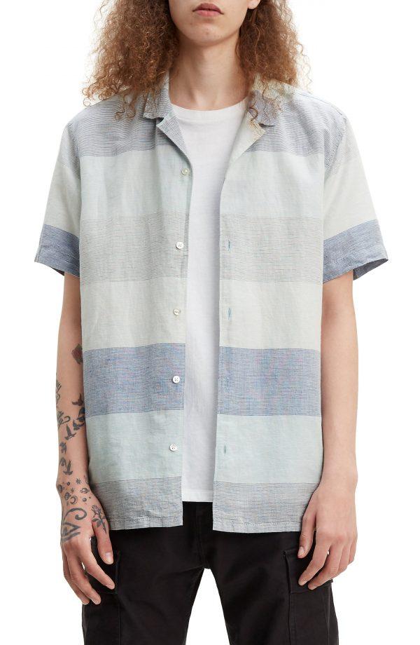 Men's Levi's Cubano Stripe Linen & Cotton Camp Shirt, Size Small - Blue