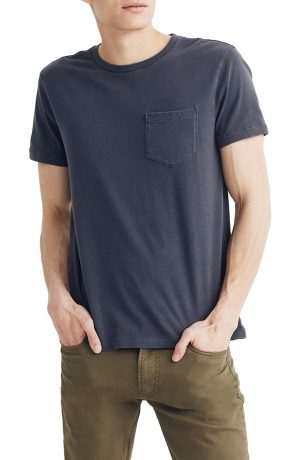 Men's Madewell Allday Slim Fit Garment Dyed Pocket T-Shirt, Size Large - Black