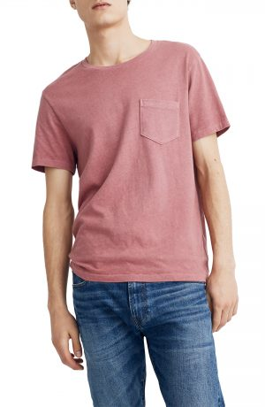 Men's Madewell Allday Slim Fit Garment Dyed Pocket T-Shirt, Size Medium - Red