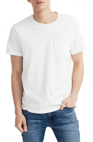 Men's Madewell Allday Slim Fit Garment Dyed Pocket T-Shirt, Size Medium - White