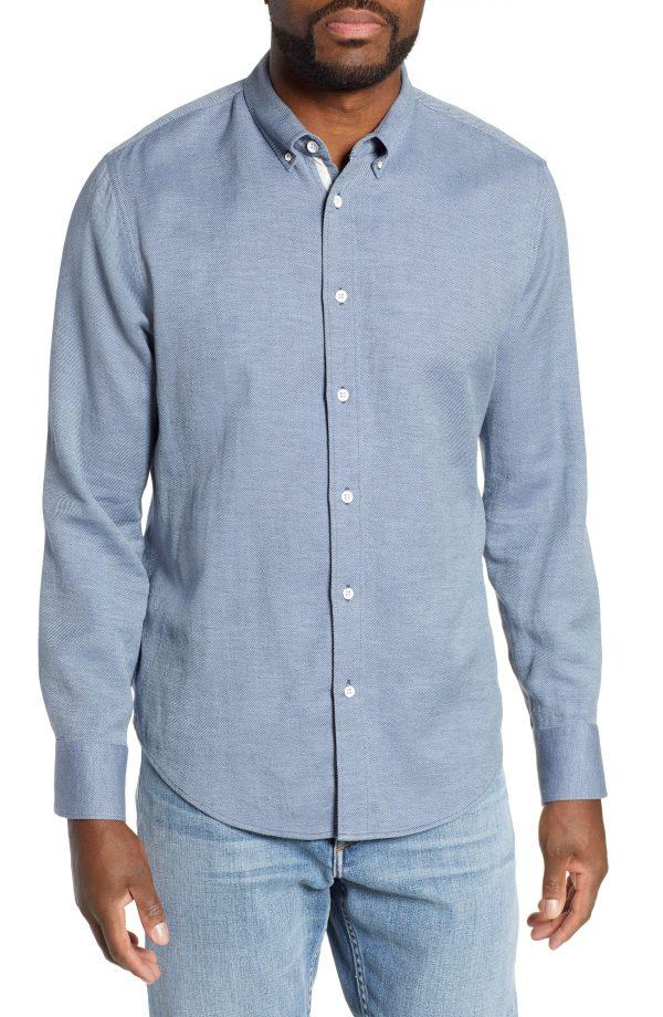 Men's Rag & Bone Fit 2 Tomlin Regular Fit Sport Shirt, Size Small - Blue