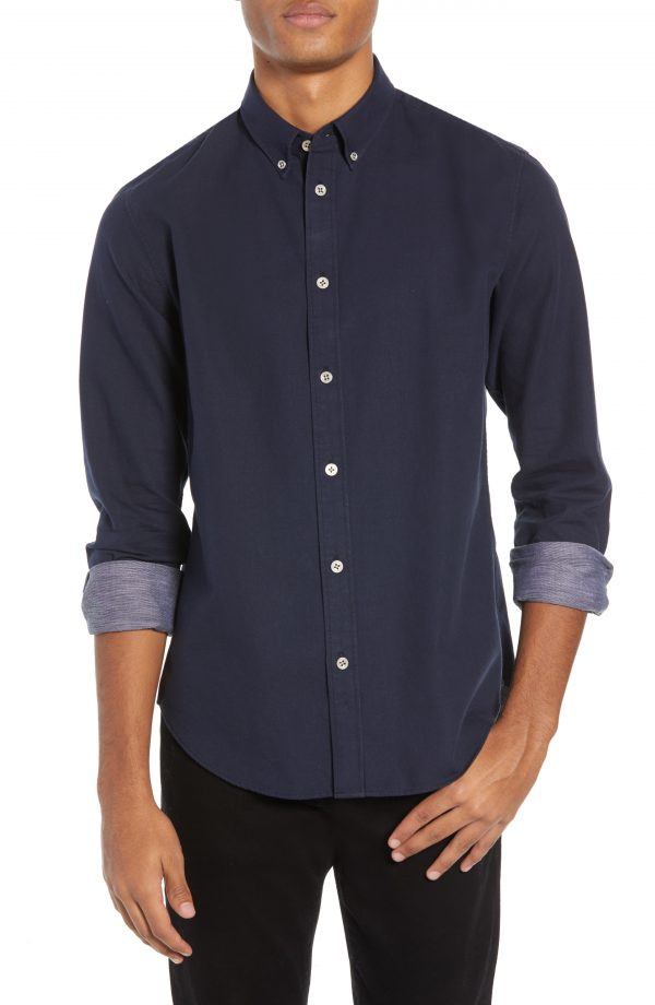 Men's Rag & Bone Fit 2 Tomlin Slim Fit Sport Shirt, Size Large - Blue