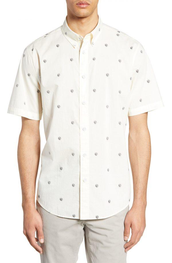 Men's Rag & Bone Tomlin Dagger Print Shirt, Size Small - White