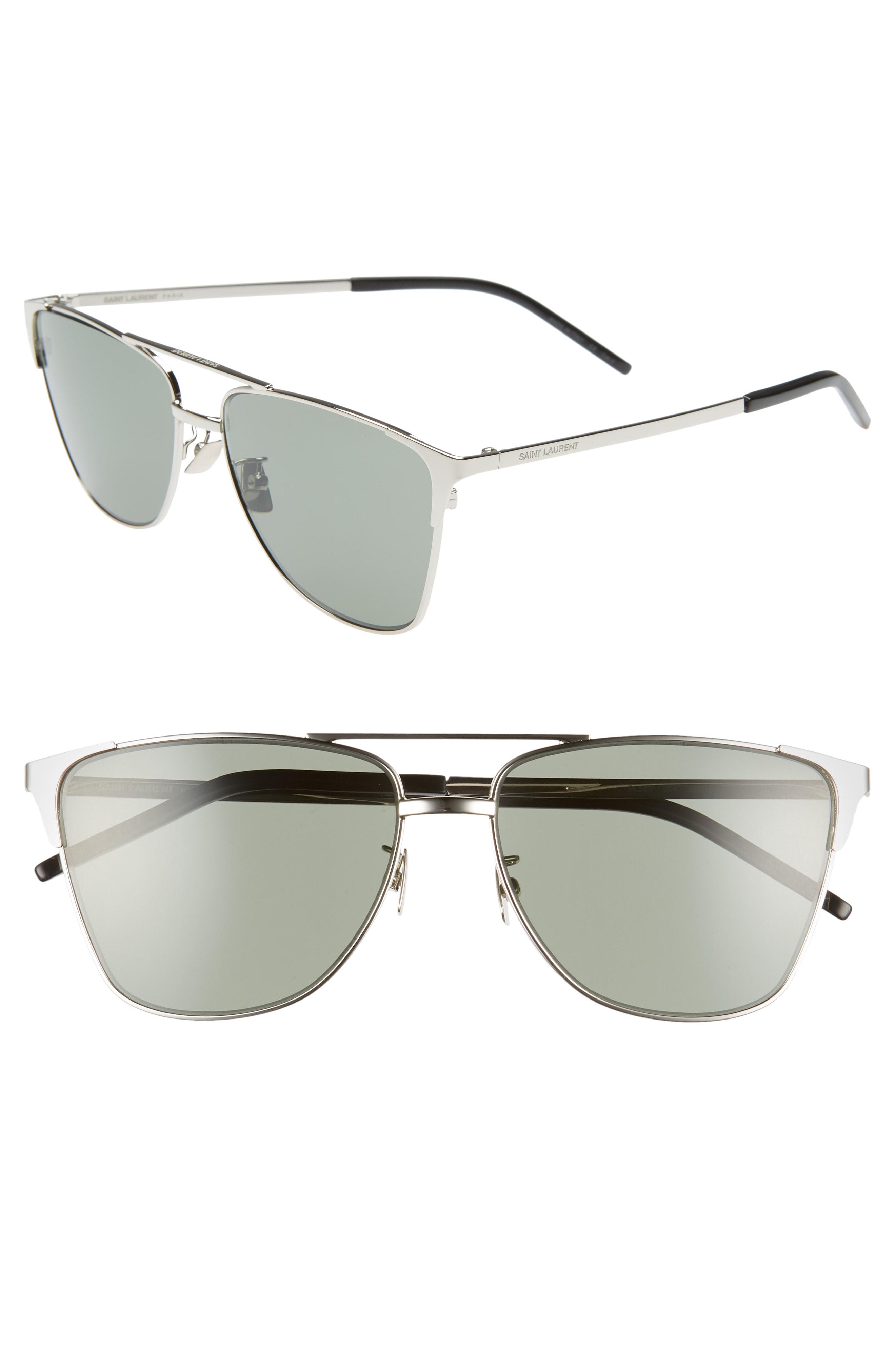 bb127eb58 Men's Saint Laurent 59Mm Aviator Sunglasses – Silver | The Fashionisto