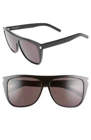 Men's Saint Laurent 59Mm Sunglasses - Black/ Silver Studs
