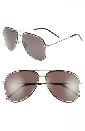 Men's Saint Laurent 61Mm Aviator Sunglasses - Silver/ Black