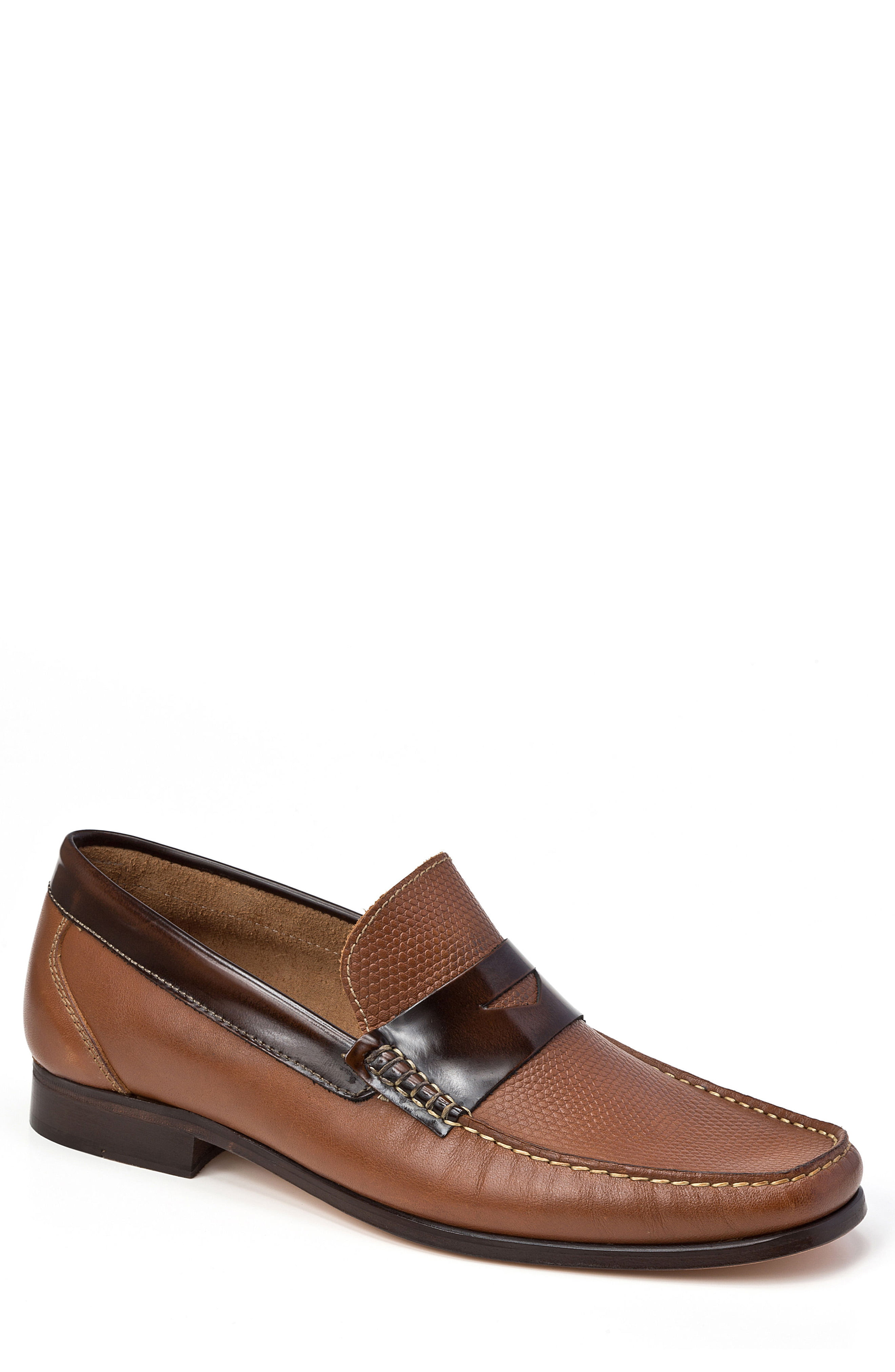 Men's Sandro Moscoloni Bilbao Pebble Embossed Penny Loafer, Size 9 D - Brown