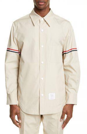 Men's Thom Browne Wool Blend Shirt Jacket, Size 1 - Beige