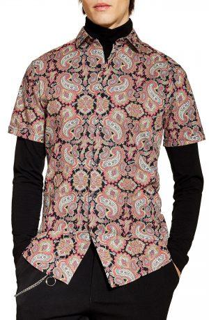 Men's Topman Classic Fit Paisley Print Shirt, Size Small - Black
